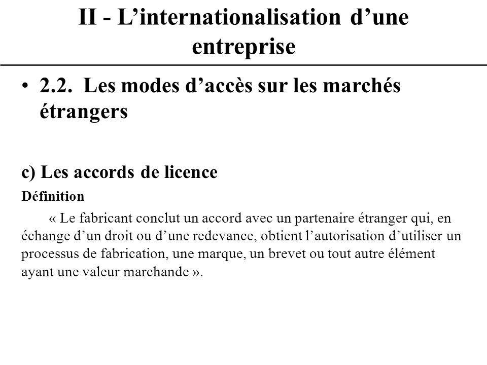 2.2. Les modes daccès sur les marchés étrangers c) Les accords de licence Définition « Le fabricant conclut un accord avec un partenaire étranger qui,