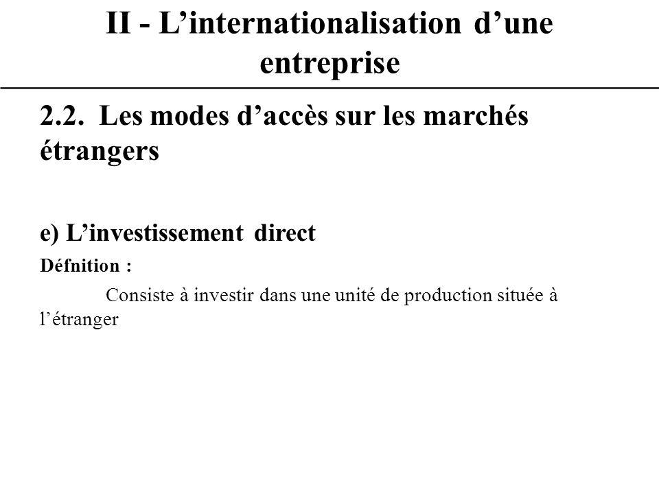 2.2. Les modes daccès sur les marchés étrangers e) Linvestissement direct Défnition : Consiste à investir dans une unité de production située à létran