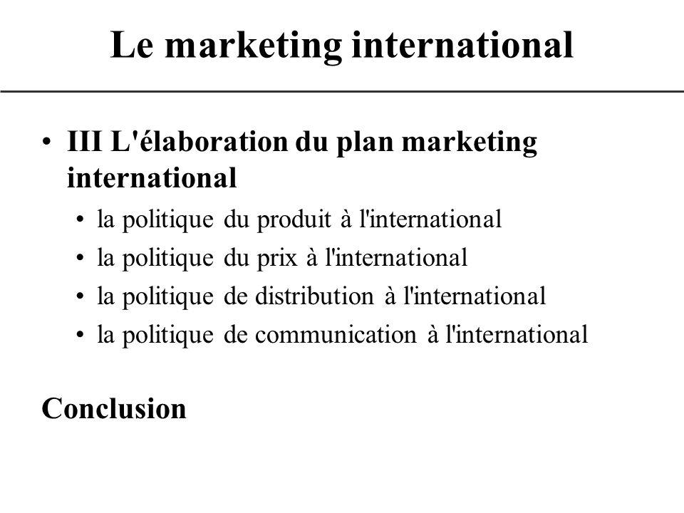 III L'élaboration du plan marketing international la politique du produit à l'international la politique du prix à l'international la politique de dis