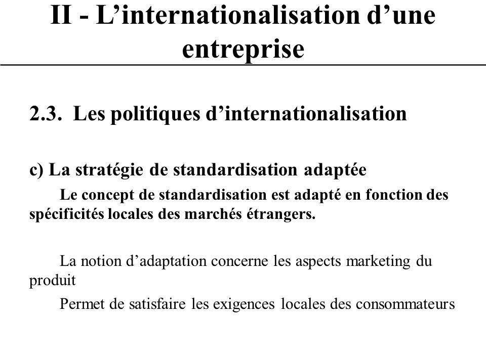2.3. Les politiques dinternationalisation c) La stratégie de standardisation adaptée Le concept de standardisation est adapté en fonction des spécific