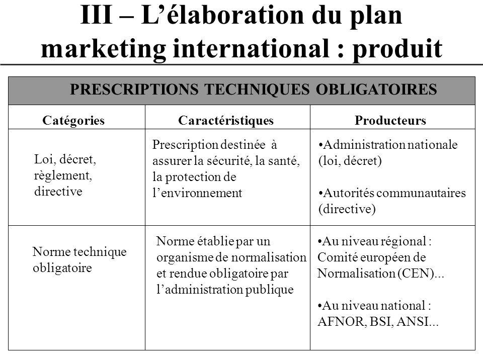 III – Lélaboration du plan marketing international : produit CatégoriesCaractéristiquesProducteurs PRESCRIPTIONS TECHNIQUES OBLIGATOIRES Loi, décret,