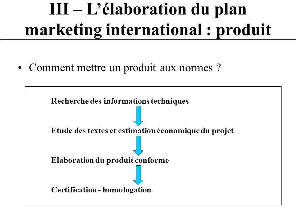 Comment mettre un produit aux normes ? III – Lélaboration du plan marketing international : produit Recherche des informations techniques Etude des te