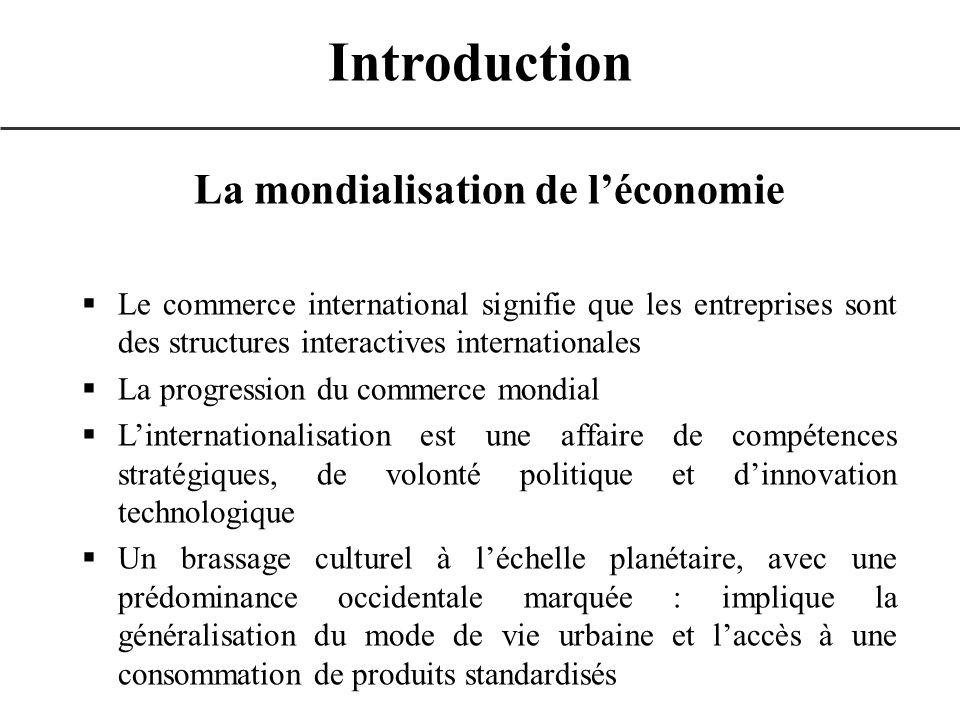 Introduction La mondialisation de léconomie Le commerce international signifie que les entreprises sont des structures interactives internationales La