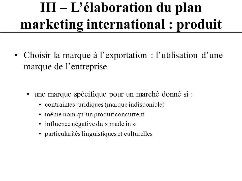 Choisir la marque à lexportation : lutilisation dune marque de lentreprise une marque spécifique pour un marché donné si : contraintes juridiques (mar