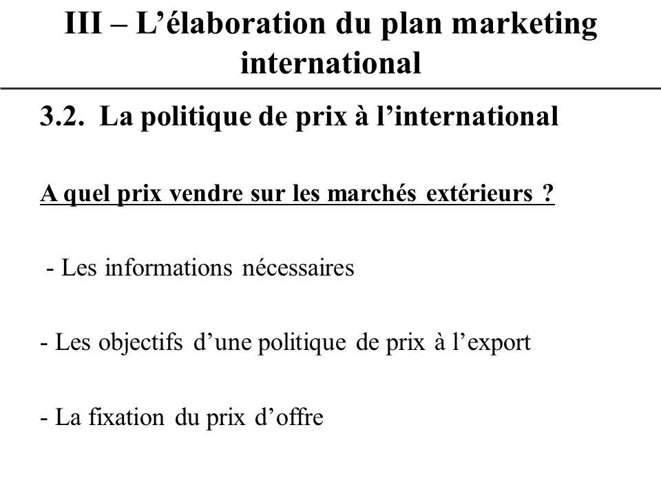 3.2. La politique de prix à linternational A quel prix vendre sur les marchés extérieurs ? - Les informations nécessaires - Les objectifs dune politiq