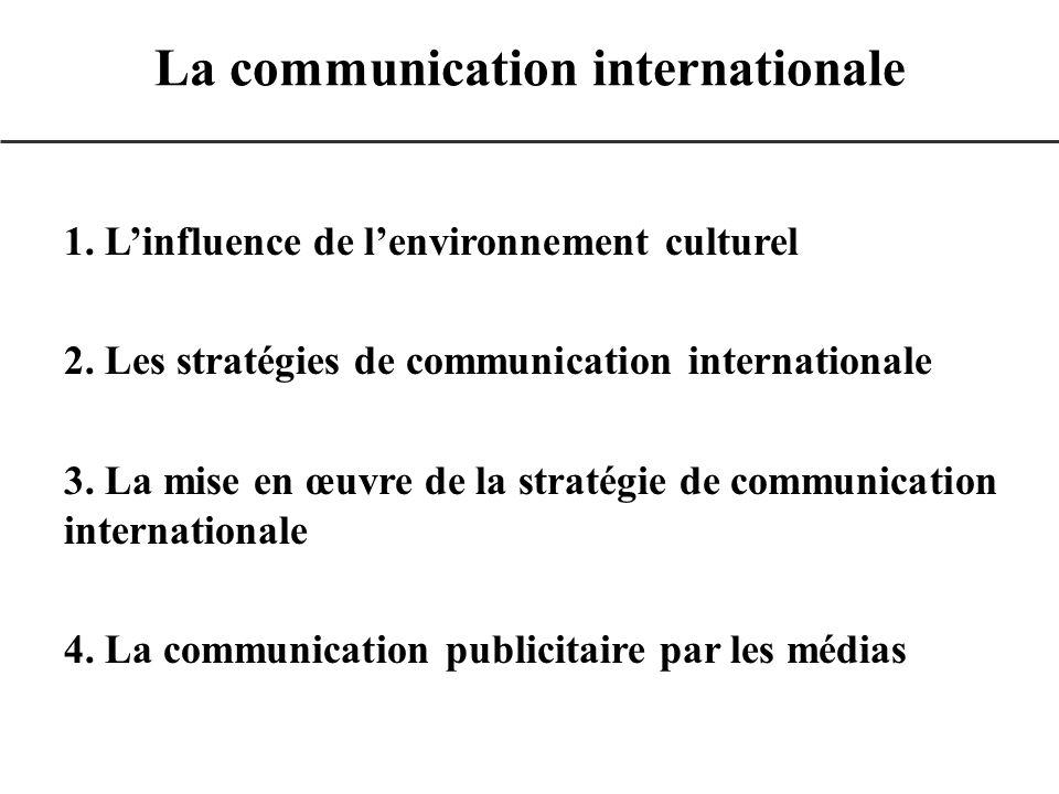 1. Linfluence de lenvironnement culturel 2. Les stratégies de communication internationale 3. La mise en œuvre de la stratégie de communication intern