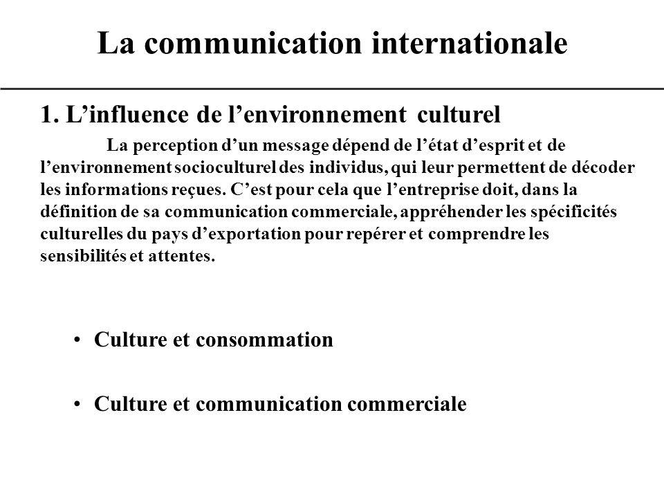 1. Linfluence de lenvironnement culturel La perception dun message dépend de létat desprit et de lenvironnement socioculturel des individus, qui leur