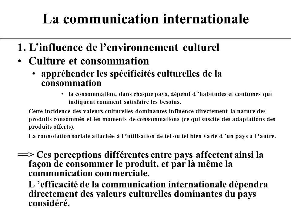 1. Linfluence de lenvironnement culturel Culture et consommation appréhender les spécificités culturelles de la consommation la consommation, dans cha