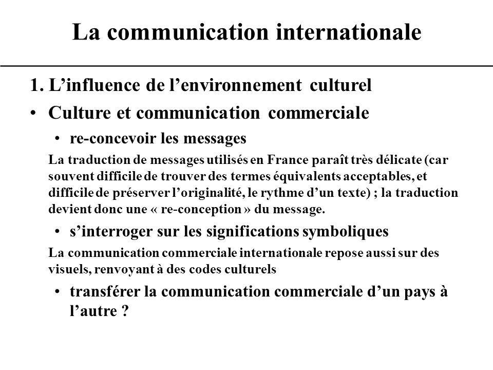 1. Linfluence de lenvironnement culturel Culture et communication commerciale re-concevoir les messages La traduction de messages utilisés en France p