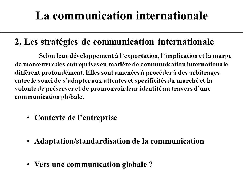 2. Les stratégies de communication internationale Selon leur développement à lexportation, limplication et la marge de manœuvre des entreprises en mat