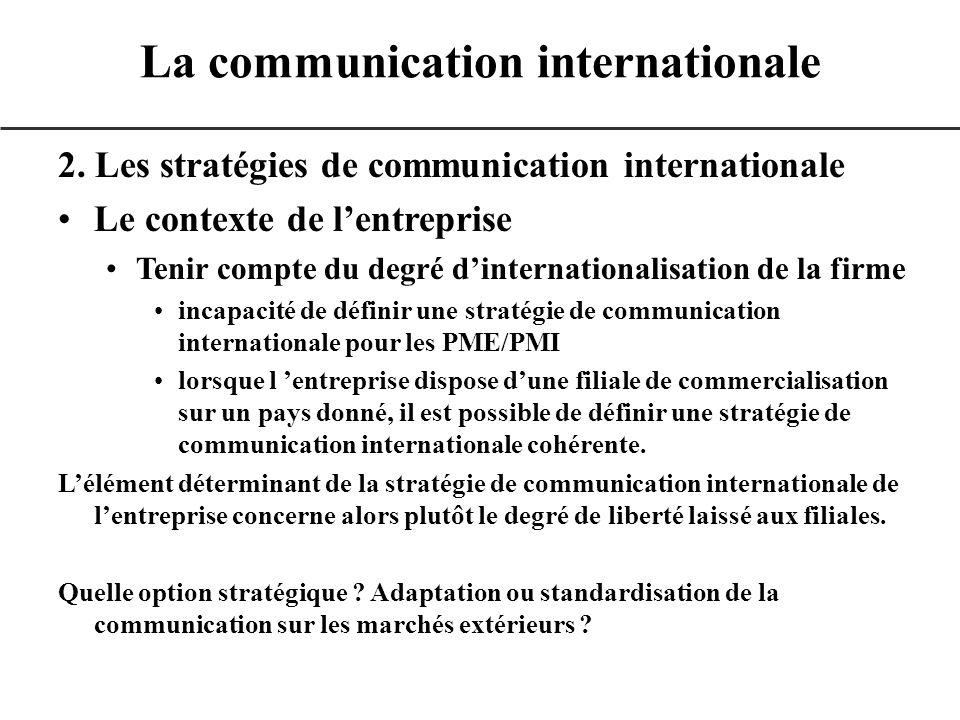 2. Les stratégies de communication internationale Le contexte de lentreprise Tenir compte du degré dinternationalisation de la firme incapacité de déf