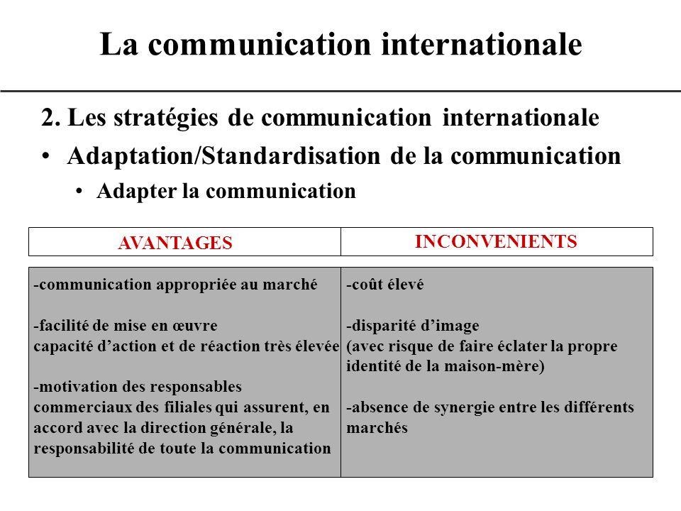 2. Les stratégies de communication internationale Adaptation/Standardisation de la communication Adapter la communication La communication internation