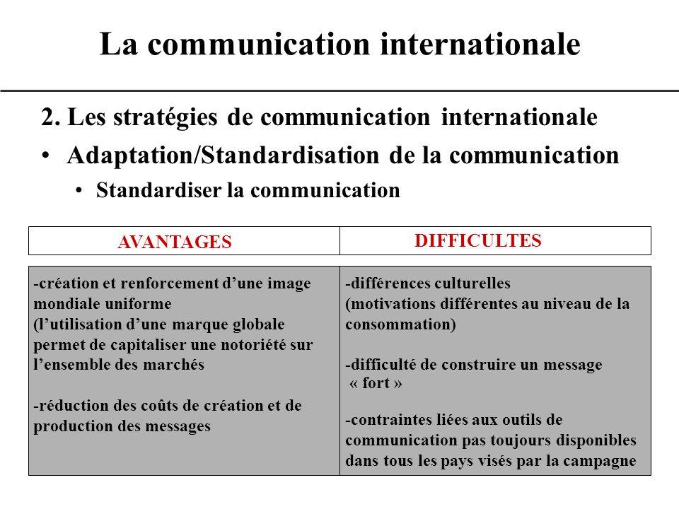 2. Les stratégies de communication internationale Adaptation/Standardisation de la communication Standardiser la communication La communication intern