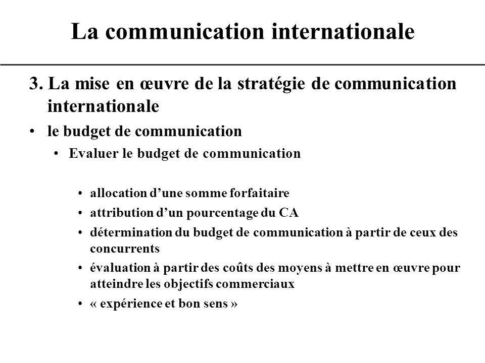 3. La mise en œuvre de la stratégie de communication internationale le budget de communication Evaluer le budget de communication allocation dune somm