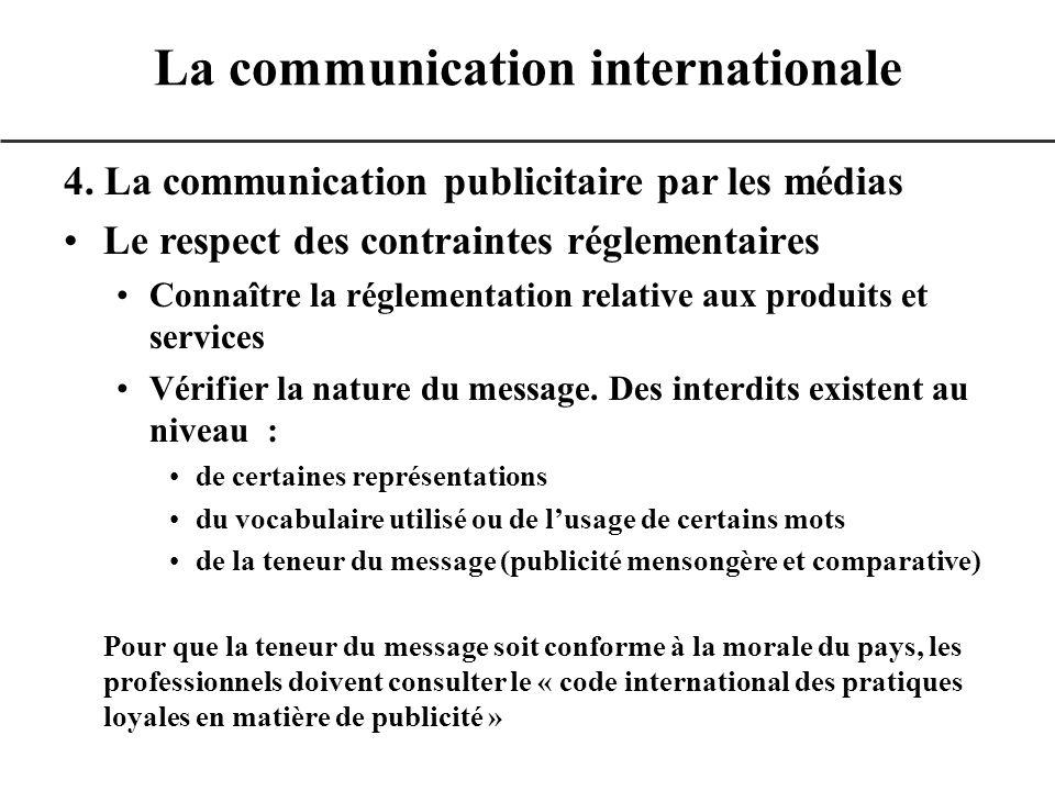 4. La communication publicitaire par les médias Le respect des contraintes réglementaires Connaître la réglementation relative aux produits et service