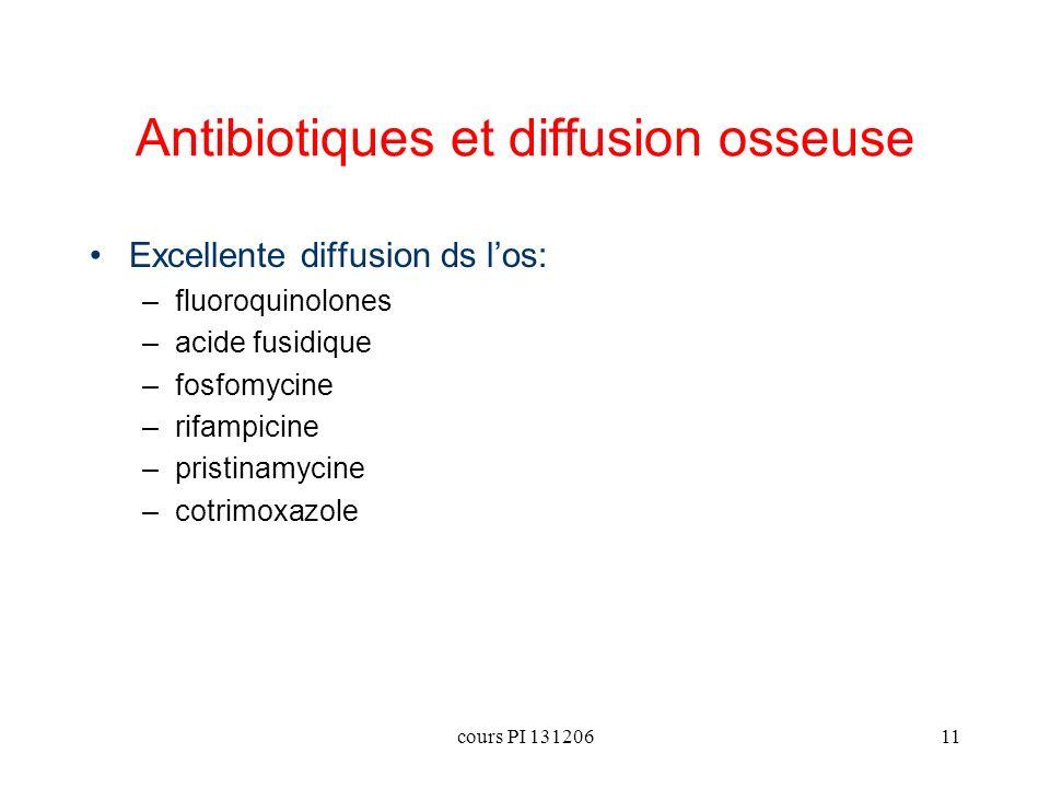 cours PI 13120611 Antibiotiques et diffusion osseuse Excellente diffusion ds los: –fluoroquinolones –acide fusidique –fosfomycine –rifampicine –pristi