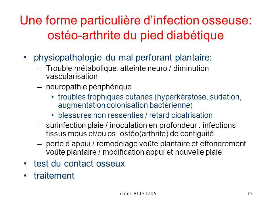 cours PI 13120615 Une forme particulière dinfection osseuse: ostéo-arthrite du pied diabétique physiopathologie du mal perforant plantaire: –Trouble m