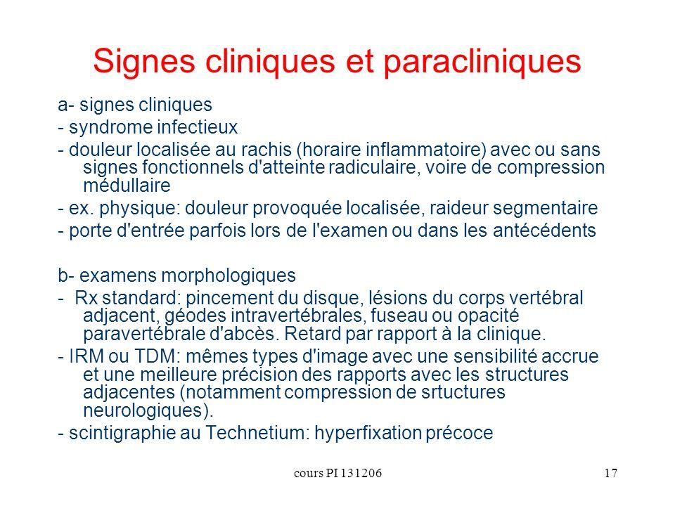 cours PI 13120617 Signes cliniques et paracliniques a- signes cliniques - syndrome infectieux - douleur localisée au rachis (horaire inflammatoire) av