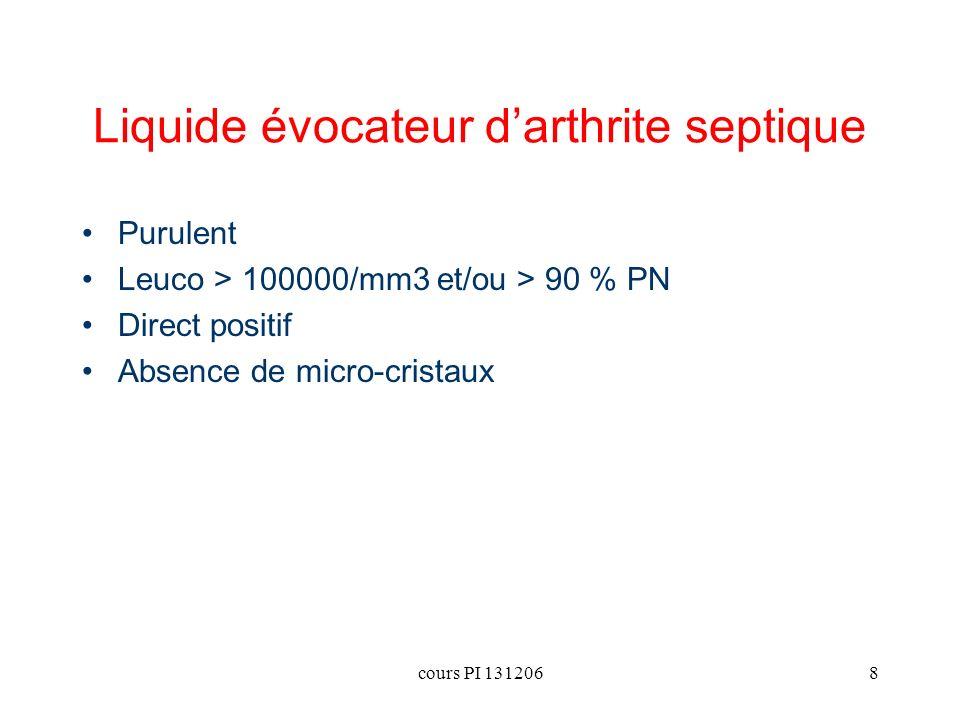 cours PI 1312068 Liquide évocateur darthrite septique Purulent Leuco > 100000/mm3 et/ou > 90 % PN Direct positif Absence de micro-cristaux