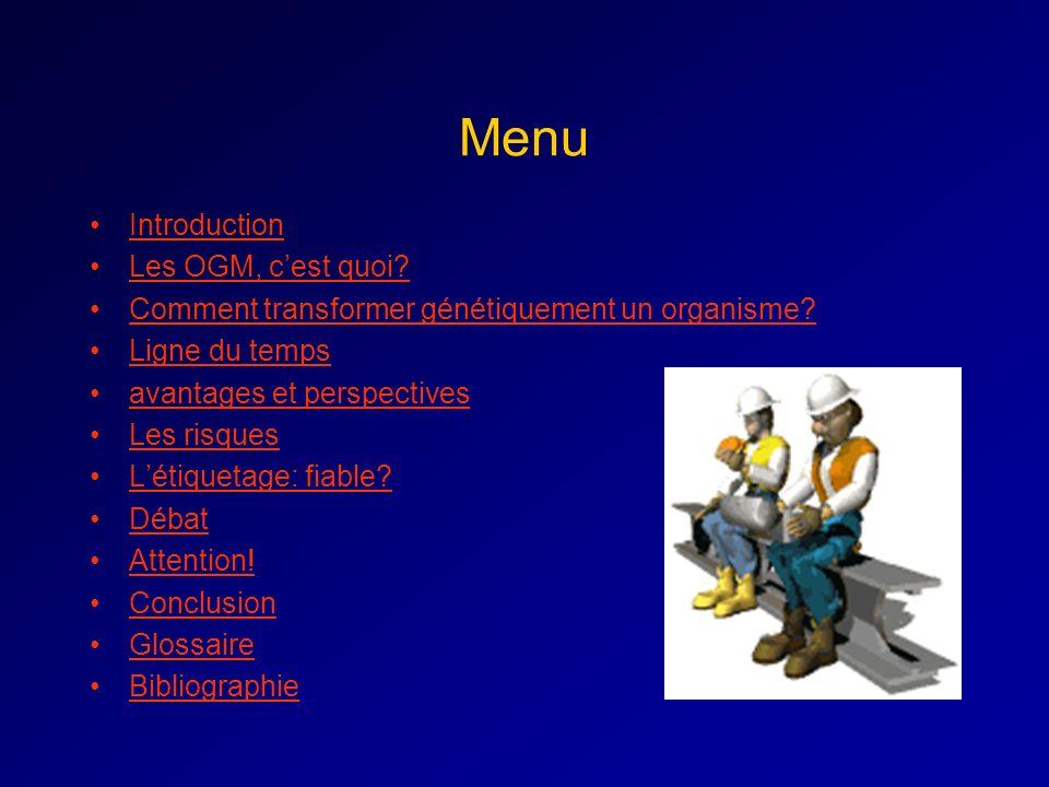 Menu Introduction Les OGM, cest quoi.Comment transformer génétiquement un organisme.