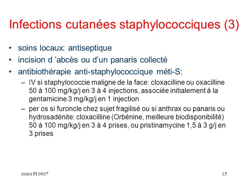 cours PI 060715 soins locaux: antiseptique incision d abcès ou dun panaris collecté antibiothérapie anti-staphylococcique méti-S: –IV si staphylococci