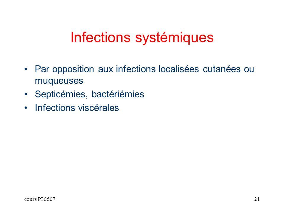 cours PI 060721 Infections systémiques Par opposition aux infections localisées cutanées ou muqueuses Septicémies, bactériémies Infections viscérales