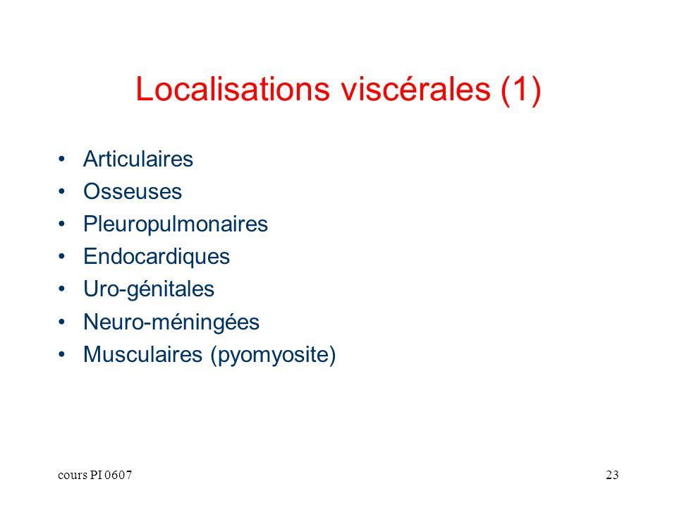 cours PI 060723 Localisations viscérales (1) Articulaires Osseuses Pleuropulmonaires Endocardiques Uro-génitales Neuro-méningées Musculaires (pyomyosi