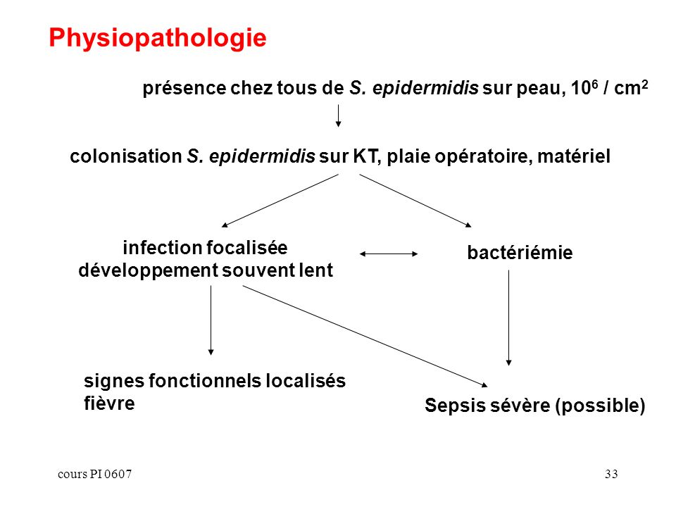 cours PI 060733 Physiopathologie colonisation S. epidermidis sur KT, plaie opératoire, matériel bactériémie présence chez tous de S. epidermidis sur p