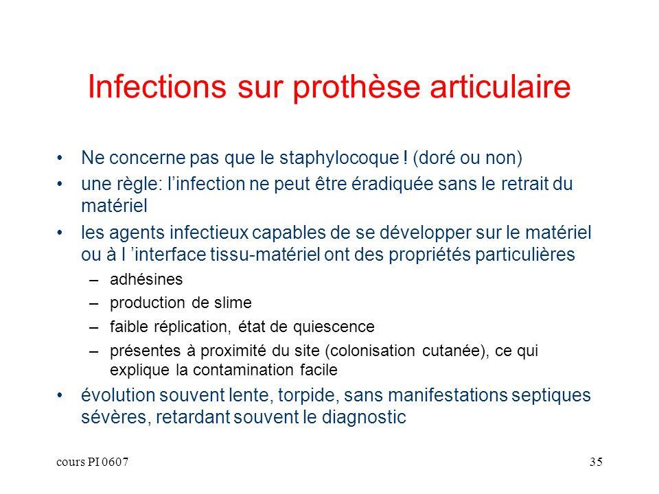 cours PI 060735 Infections sur prothèse articulaire Ne concerne pas que le staphylocoque ! (doré ou non) une règle: linfection ne peut être éradiquée