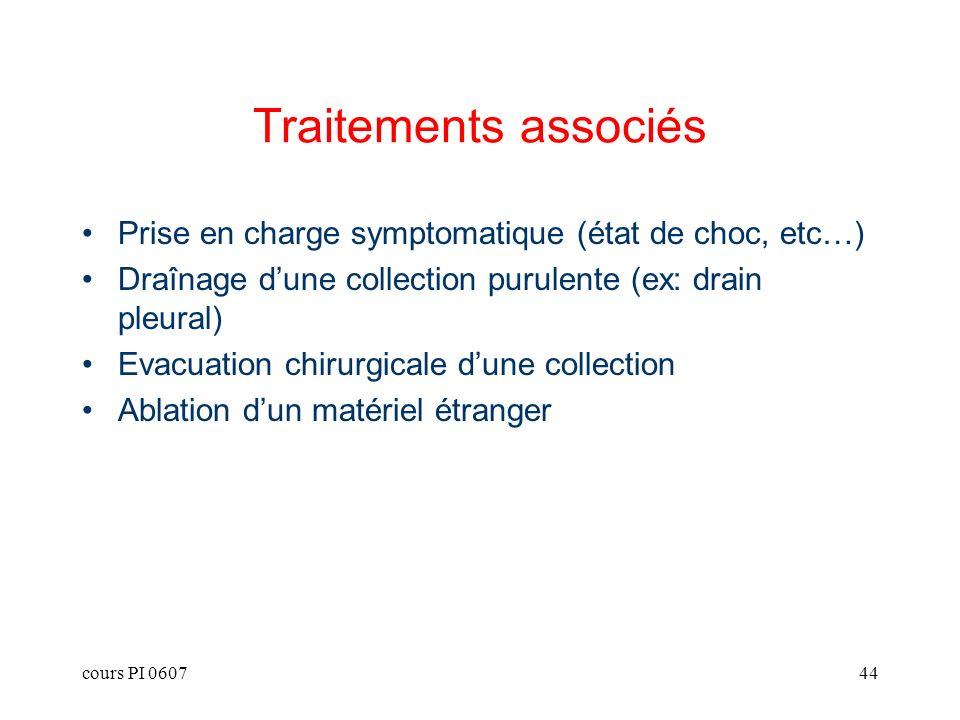 cours PI 060744 Traitements associés Prise en charge symptomatique (état de choc, etc…) Draînage dune collection purulente (ex: drain pleural) Evacuat