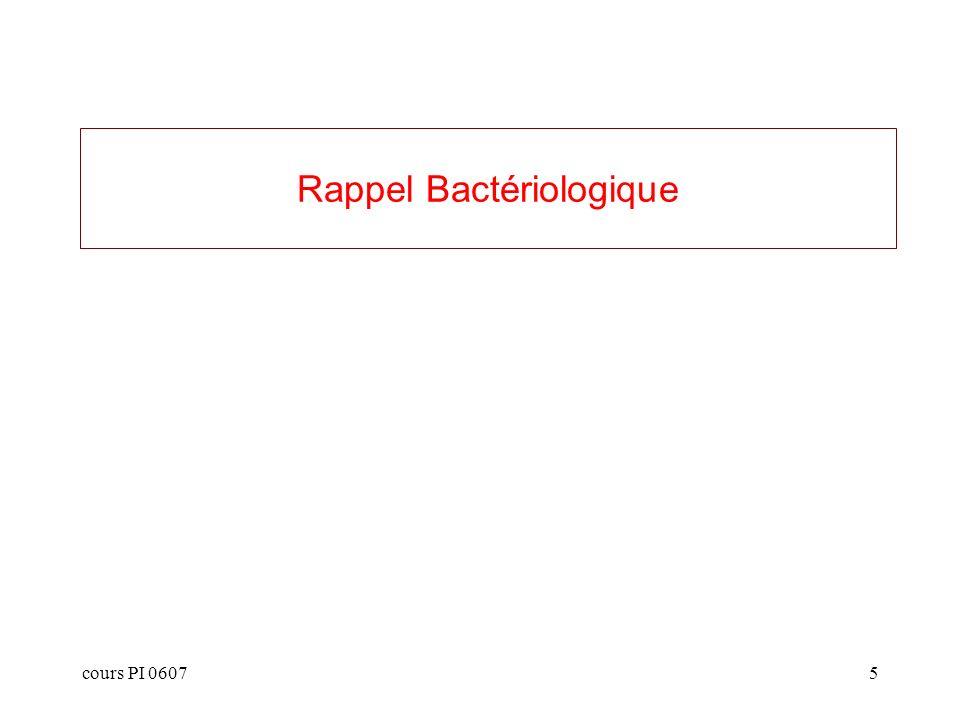 cours PI 06075 Rappel Bactériologique