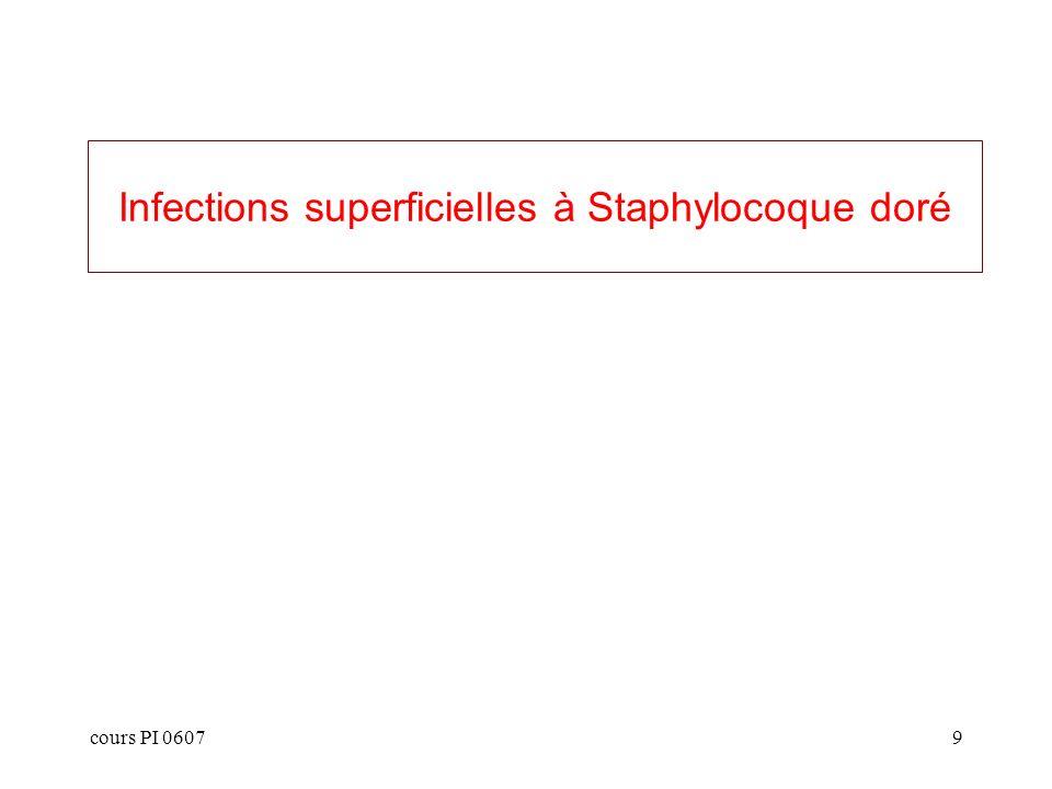cours PI 060710 Infections cutanées staphylococciques (1) folliculite: infection du follicule pilo-sébacé limitée à la gaine du poil furoncle: infection d un follicule pilo-sébacé formant un abcès de l ensemble de l annexe anthrax: coalescence de plusieurs furoncles hydrosadénite: dermohypodermite nodulaire par infection des glandes sudoripares axillaires panaris: risque évolutif vers l extension aux fléchisseurs des doigts atteinte muqueuse: conjonctivite, sinusite, autres localisations ORL (rare, enfant)