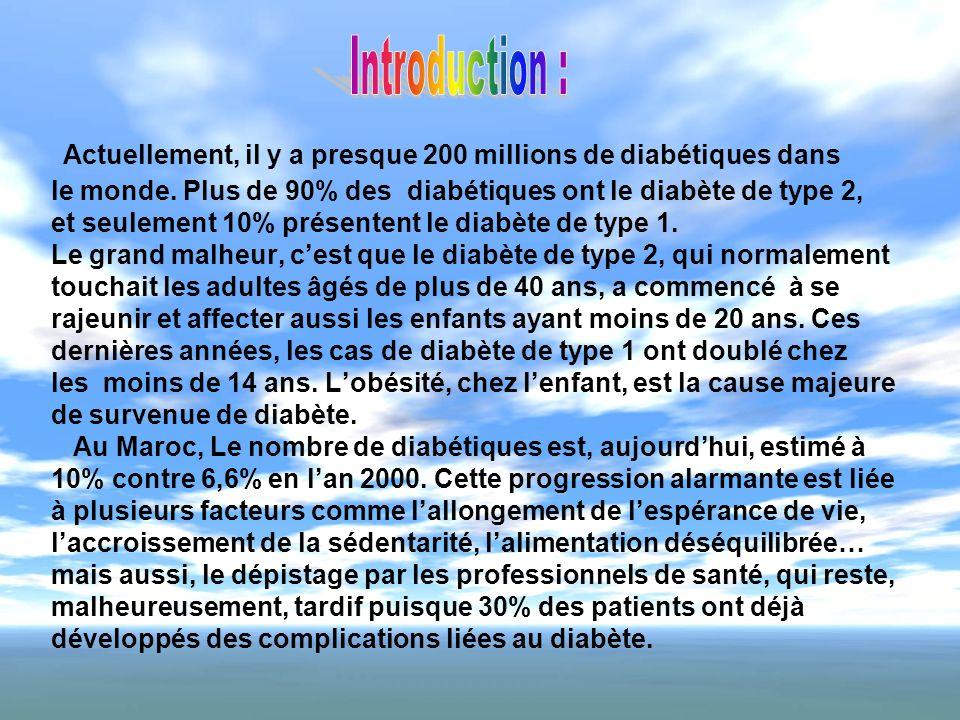 Actuellement, il y a presque 200 millions de diabétiques dans le monde. Plus de 90% des diabétiques ont le diabète de type 2, et seulement 10% présent