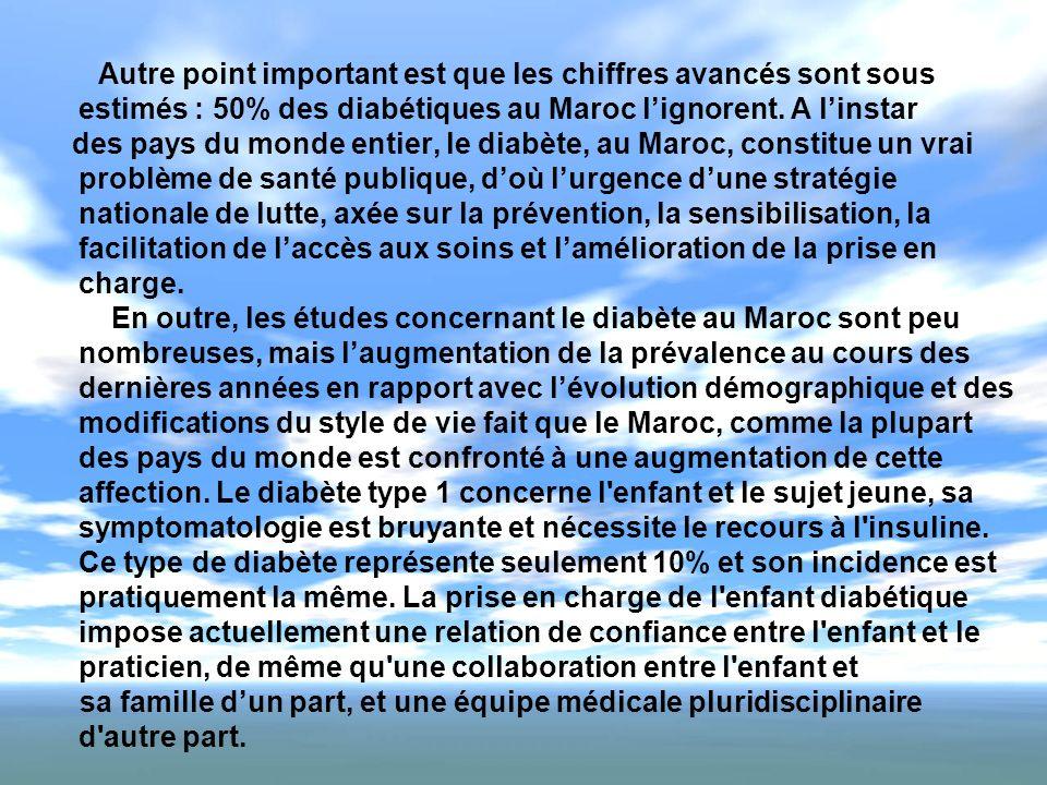 Autre point important est que les chiffres avancés sont sous estimés : 50% des diabétiques au Maroc lignorent. A linstar des pays du monde entier, le