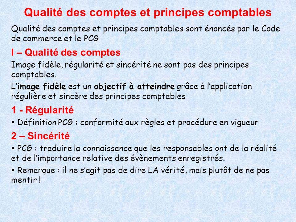Qualité des comptes et principes comptables Qualité des comptes et principes comptables sont énoncés par le Code de commerce et le PCG I – Qualité des