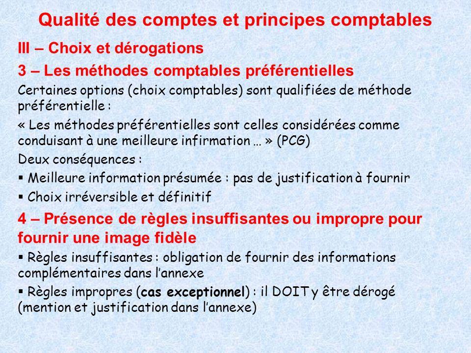 Qualité des comptes et principes comptables III – Choix et dérogations 3 – Les méthodes comptables préférentielles Certaines options (choix comptables
