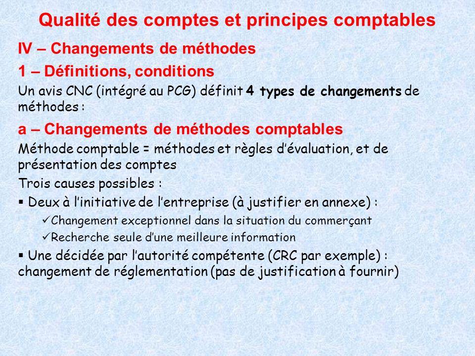 Qualité des comptes et principes comptables IV – Changements de méthodes 1 – Définitions, conditions Un avis CNC (intégré au PCG) définit 4 types de c