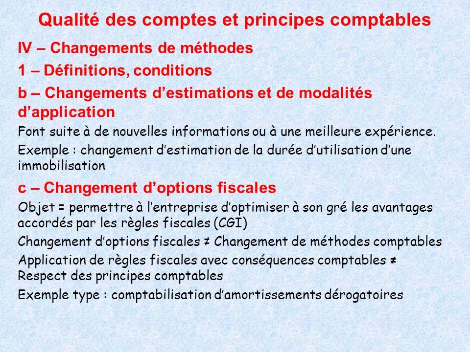 Qualité des comptes et principes comptables IV – Changements de méthodes 1 – Définitions, conditions b – Changements destimations et de modalités dapp