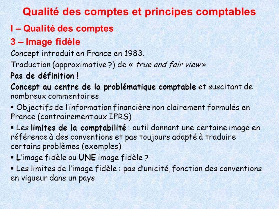 Qualité des comptes et principes comptables I – Qualité des comptes 3 – Image fidèle Concept introduit en France en 1983. Traduction (approximative ?)