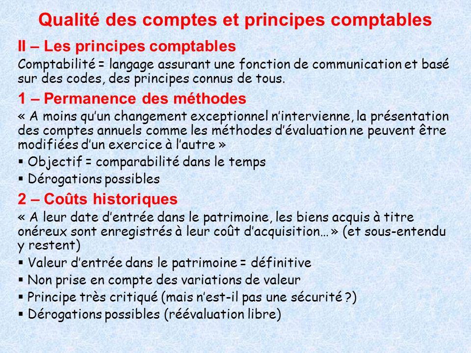 Qualité des comptes et principes comptables II – Les principes comptables Comptabilité = langage assurant une fonction de communication et basé sur de