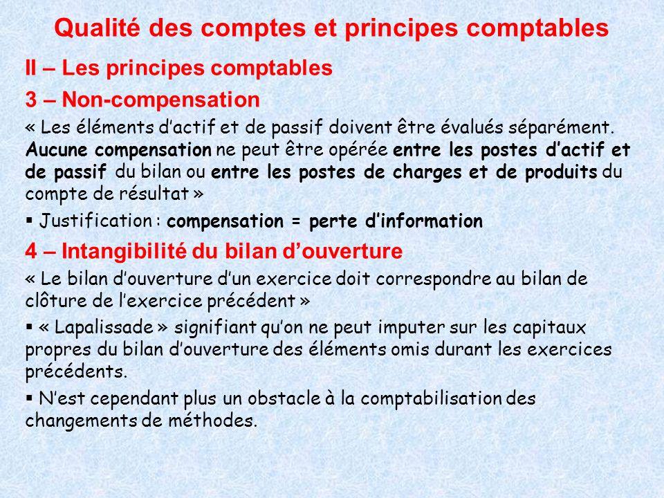 Qualité des comptes et principes comptables II – Les principes comptables 3 – Non-compensation « Les éléments dactif et de passif doivent être évalués