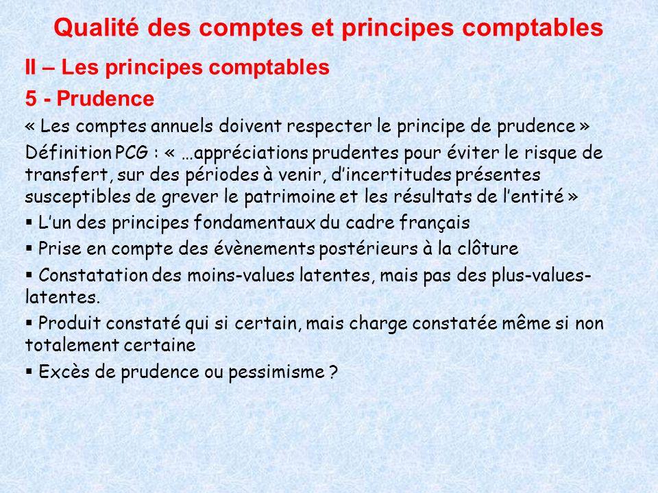 Qualité des comptes et principes comptables II – Les principes comptables 5 - Prudence « Les comptes annuels doivent respecter le principe de prudence