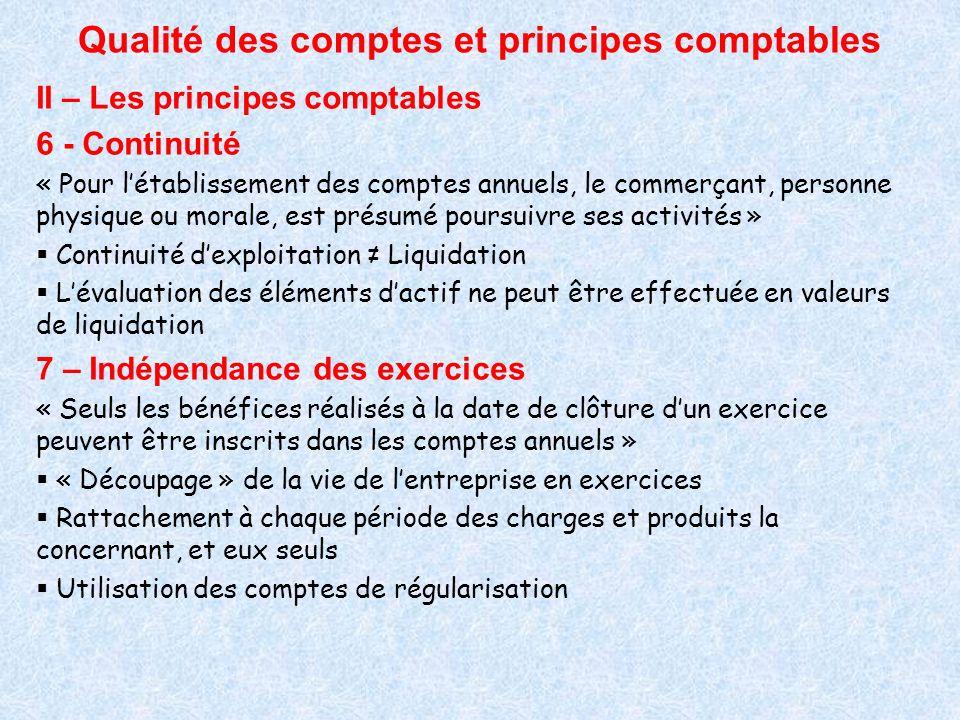 Qualité des comptes et principes comptables II – Les principes comptables 6 - Continuité « Pour létablissement des comptes annuels, le commerçant, per