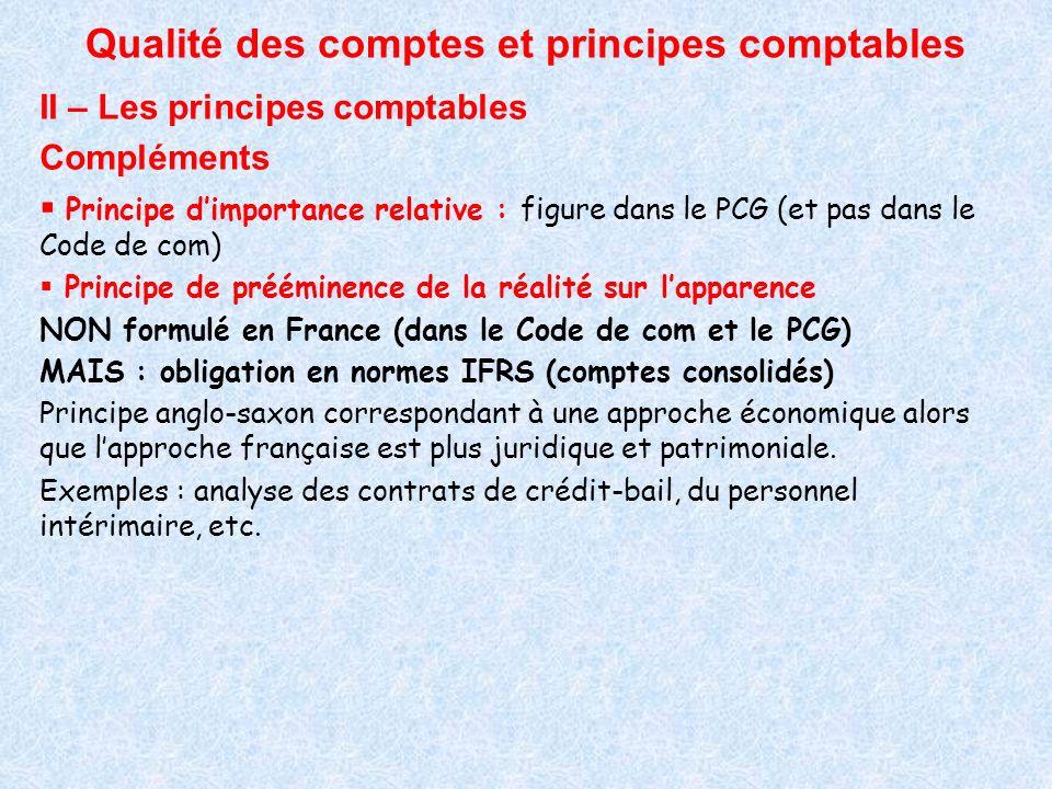 Qualité des comptes et principes comptables II – Les principes comptables Compléments Principe dimportance relative : figure dans le PCG (et pas dans