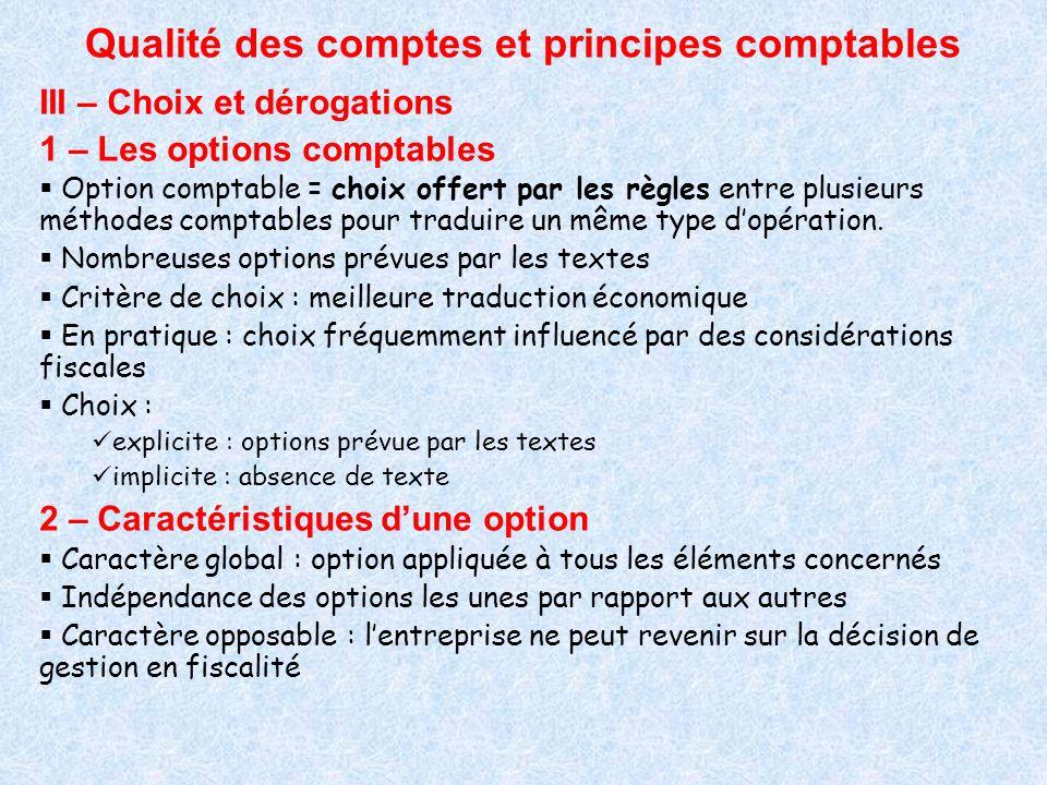 Qualité des comptes et principes comptables III – Choix et dérogations 1 – Les options comptables Option comptable = choix offert par les règles entre