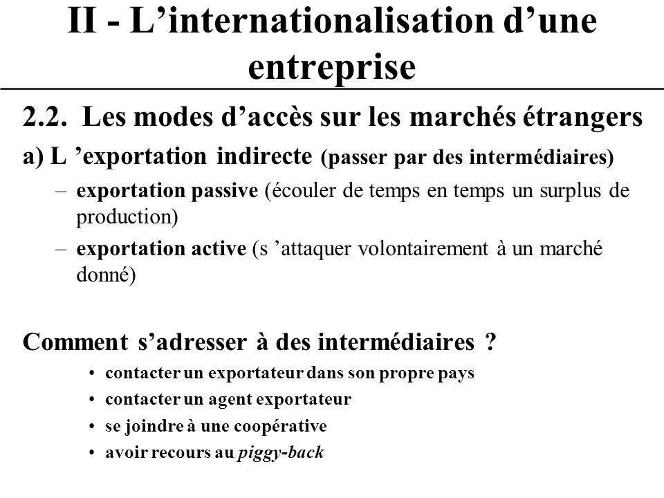 2.2. Les modes daccès sur les marchés étrangers a) L exportation indirecte (passer par des intermédiaires) –exportation passive (écouler de temps en t