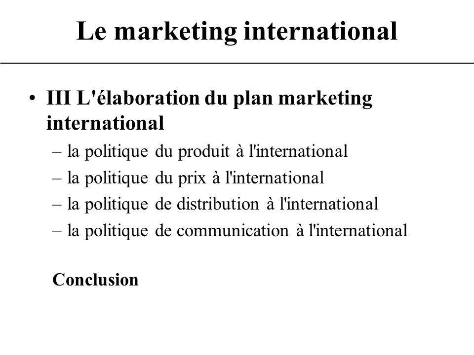 III L'élaboration du plan marketing international –la politique du produit à l'international –la politique du prix à l'international –la politique de