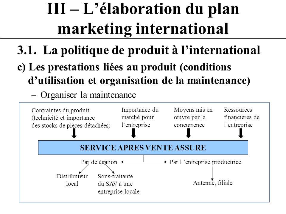 3.1. La politique de produit à linternational c) Les prestations liées au produit (conditions dutilisation et organisation de la maintenance) –Organis