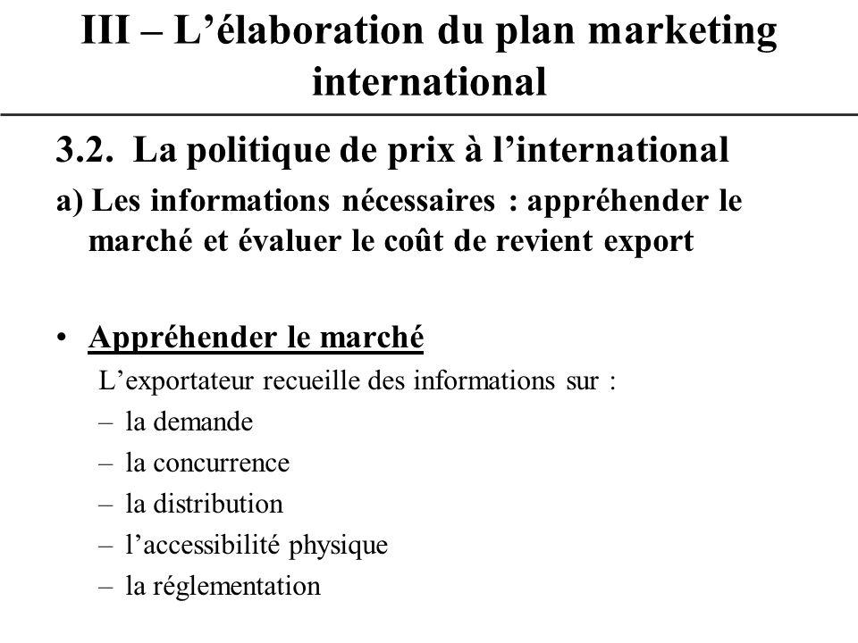 3.2. La politique de prix à linternational a) Les informations nécessaires : appréhender le marché et évaluer le coût de revient export Appréhender le