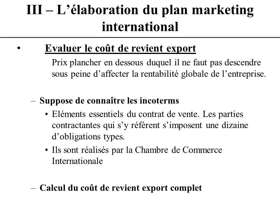 Evaluer le coût de revient export Prix plancher en dessous duquel il ne faut pas descendre sous peine daffecter la rentabilité globale de lentreprise.